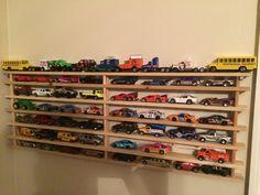 Hot Wheels Car Display Made From A Wood Shoe Rack Crafty Decor