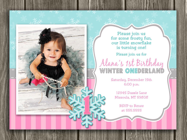 Winter ONEderland First Birthday Invitation - FREE thank you card ...