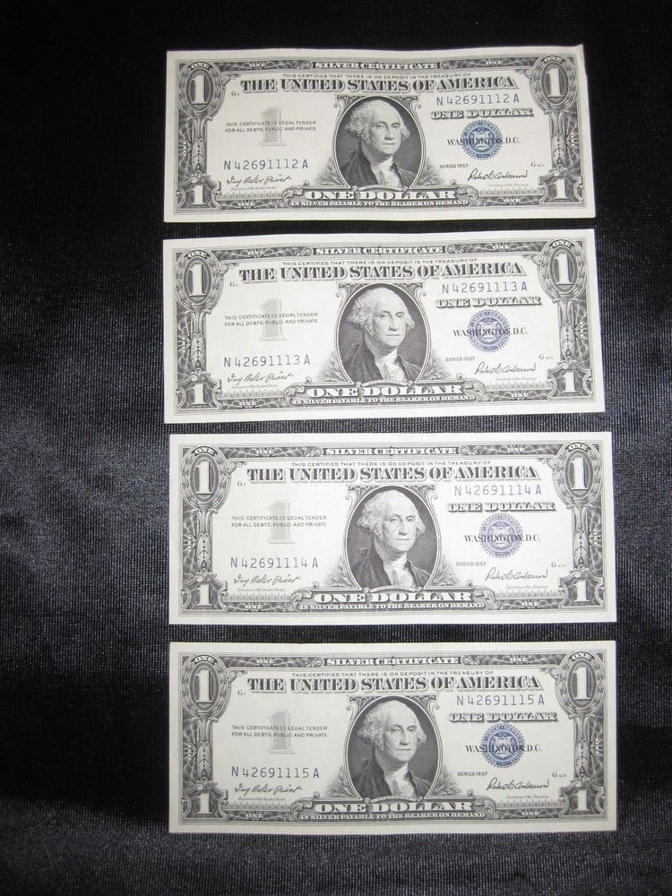 1957 4 Four Crisp Consecutive One Dollar Silver Certificates Blue