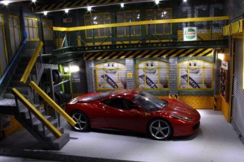Diorama Garage Voiture Atelier Eclairage Led Store Michelin Porte Pneu 1 18 Diorama Garage Voiture Garage