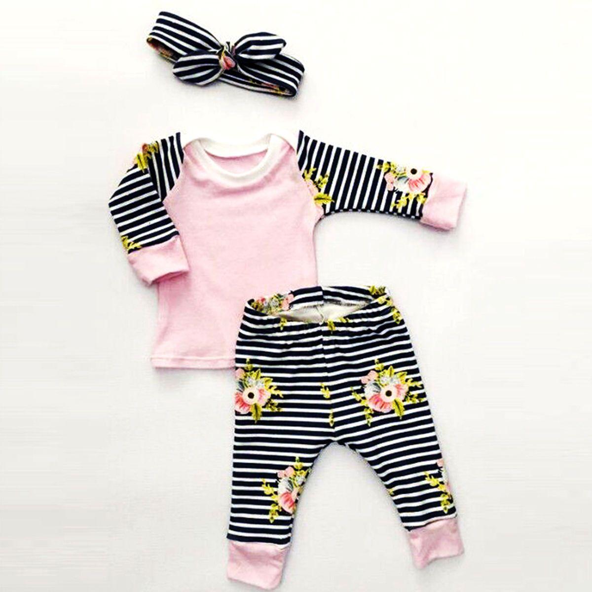 b4c182707 Toddler Baby Kids Girls Clothes T-shirt Pants Leggings Headband 3PCS ...