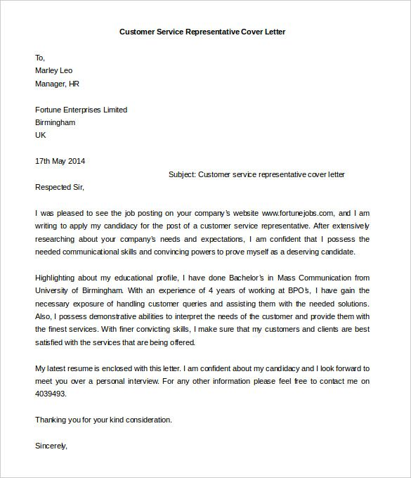 Download Customer Service Representative Cover Letter Template Sample Services
