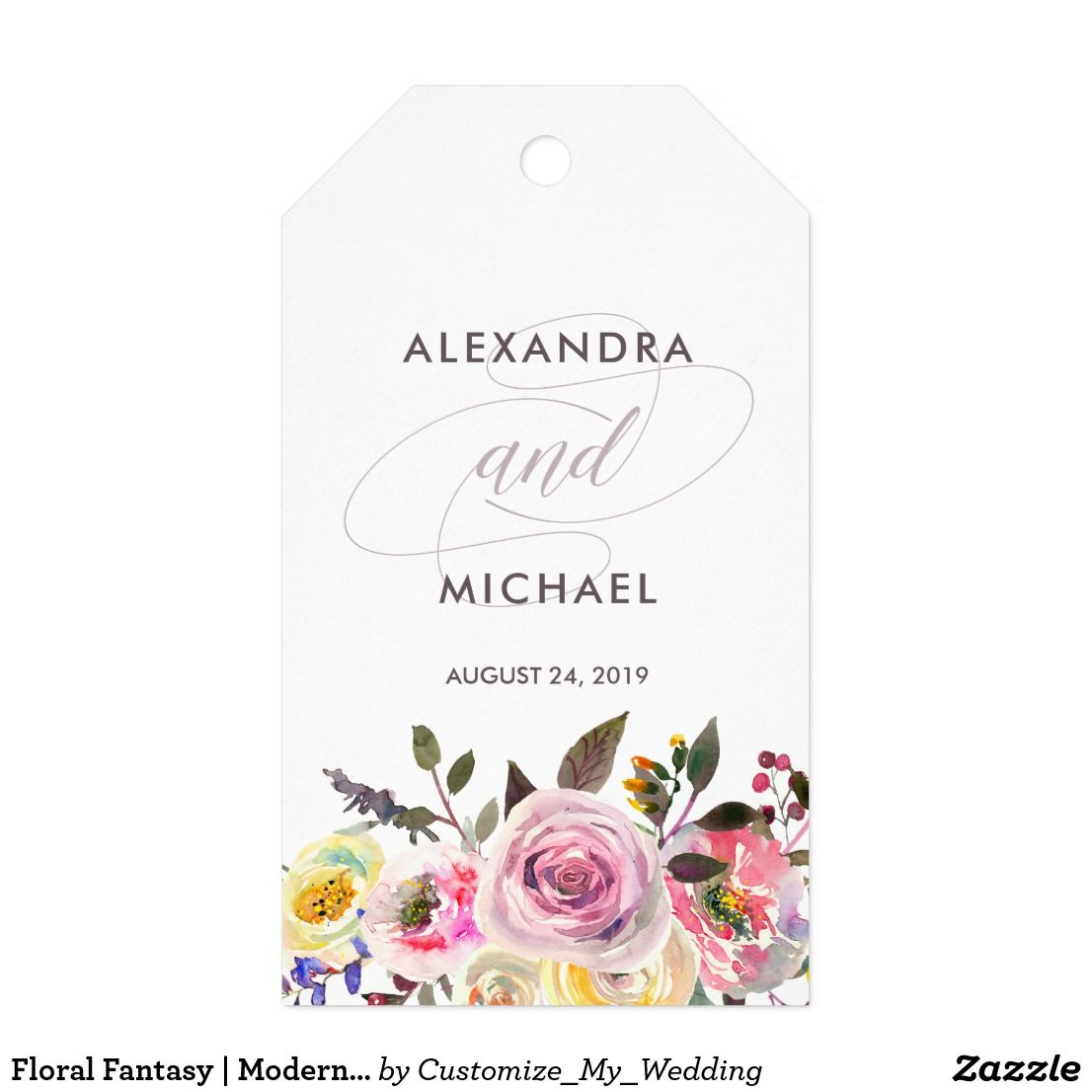 Floral Fantasy | Modern Watercolor Wedding Favor Gift Tags | Favors ...