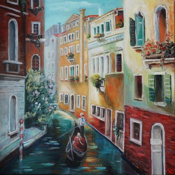 Mon Sunny Venise Peinture Original Peinture A L Huile Sur Toile
