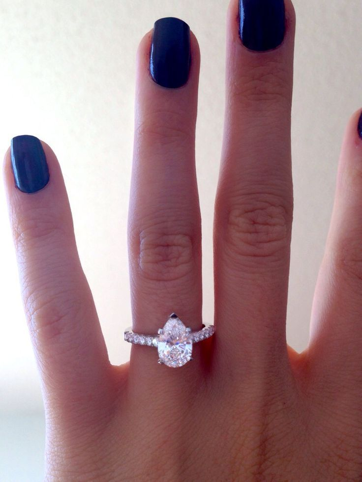 Pear Shaped Diamond Engagement Ring In U Prong Petite Cathedral