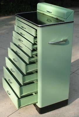 Antique Art Deco DENTIST Medical Cabinet Metal Vintage .