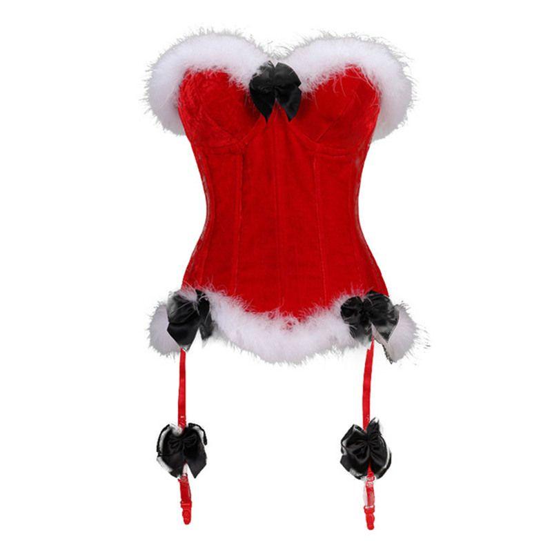13e85c82c1e CINOON Sexy Red Corset Vest Top Mini Christmas Lingerie Lace Up Back Bustier  Corset Women Fluff Corselet Plus Size S-XXL