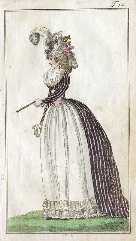 Dammode. Kvinna i kläder från sent 1700-tal (1792) - Nordiska Museet - NMA.0041098 - 1775–95 in Western fashion - Wikipedia
