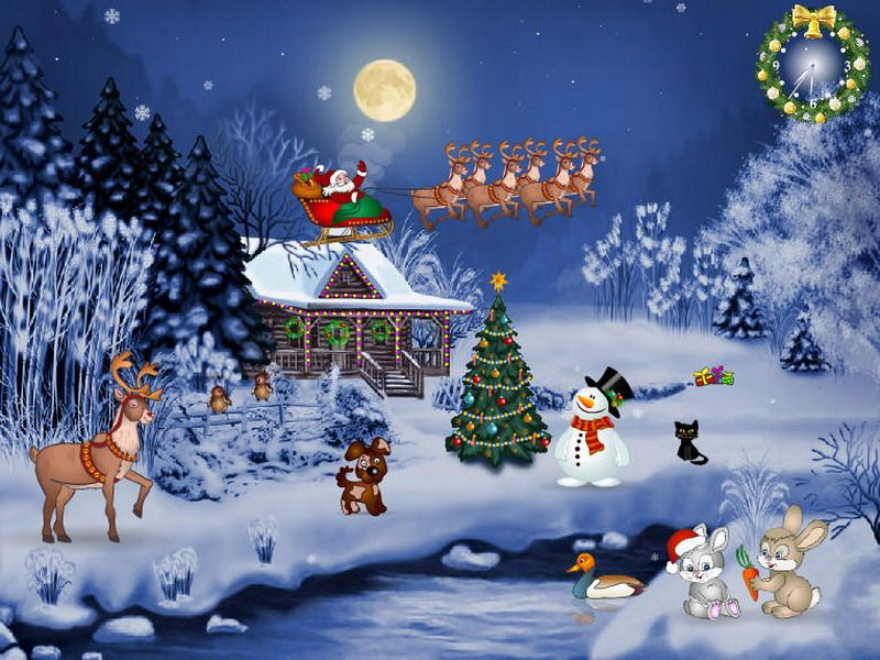 Hd Christmas Tree Snow Santa Claus Monday November 26 2012 Christian Wallpapers Christmas Screen Savers Christmas Wallpaper Christmas Wallpaper Free