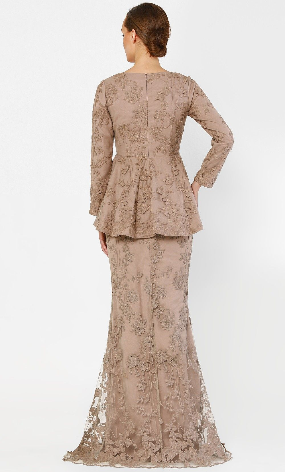 Photo of The Peplum Kurung with Full Dahlia Lace in Sand
