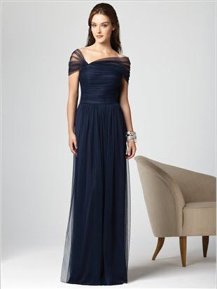 Long midnight blue bridesmaid dress by dessy bridesmaid for Midnight blue wedding dress