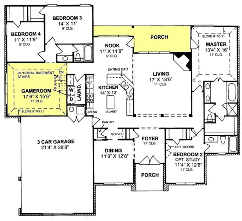 655799 1 story traditional 4 bedroom 3 bath plan with 3 for Four car garage house plans
