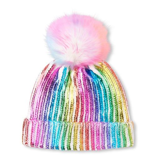 982030f0de9 Girls Foil Rainbow Faux Fur Pom Pom Beanie