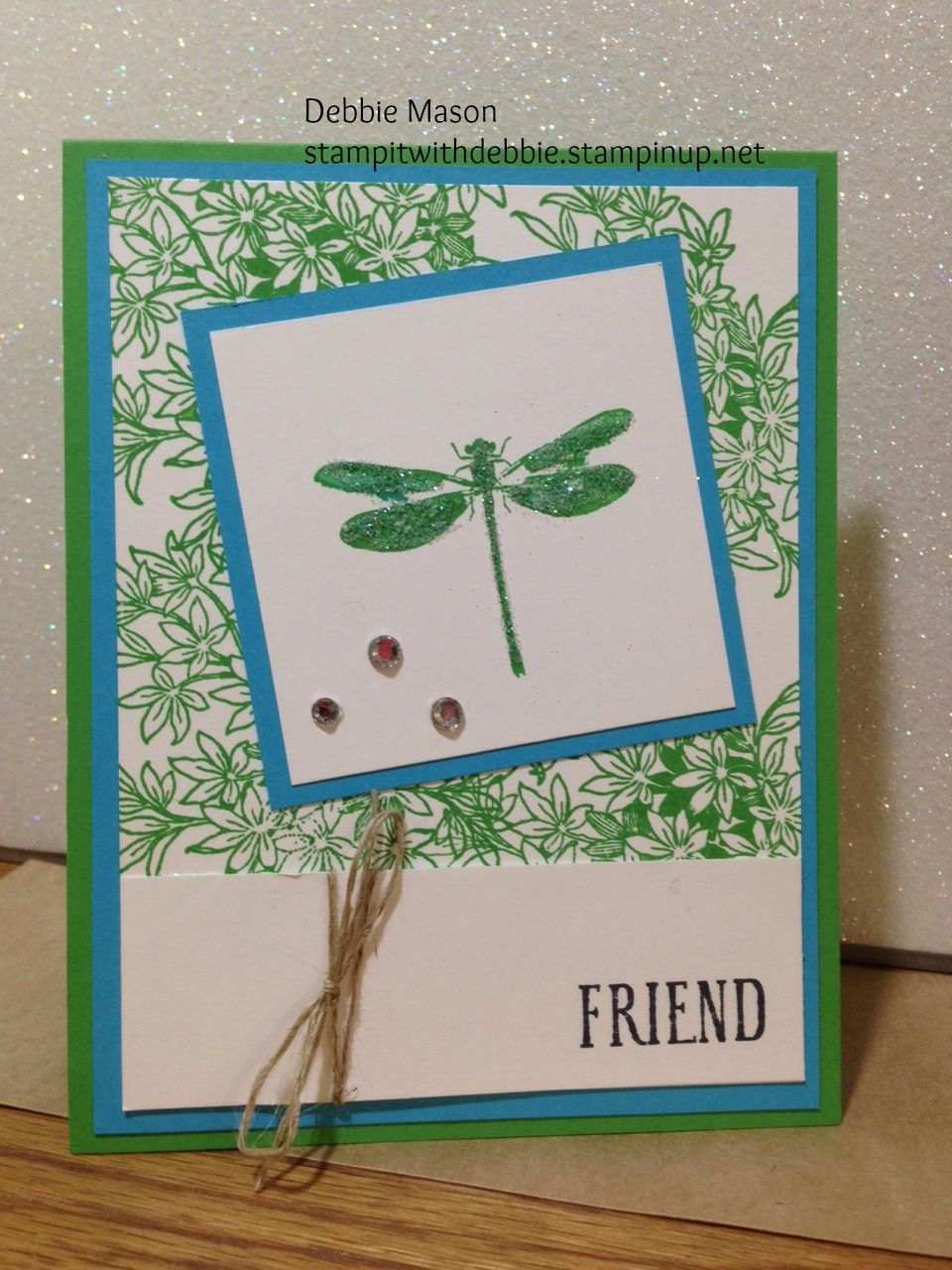 Dragonflies are my favorite. I created this card with the Stampin' Up! stamp set called Awesomely Artistic. Colors used are the new 2015-2017 in color Cucumber Crush along with Tempting Turquoise. stampitwithdebbie.stampinup.net