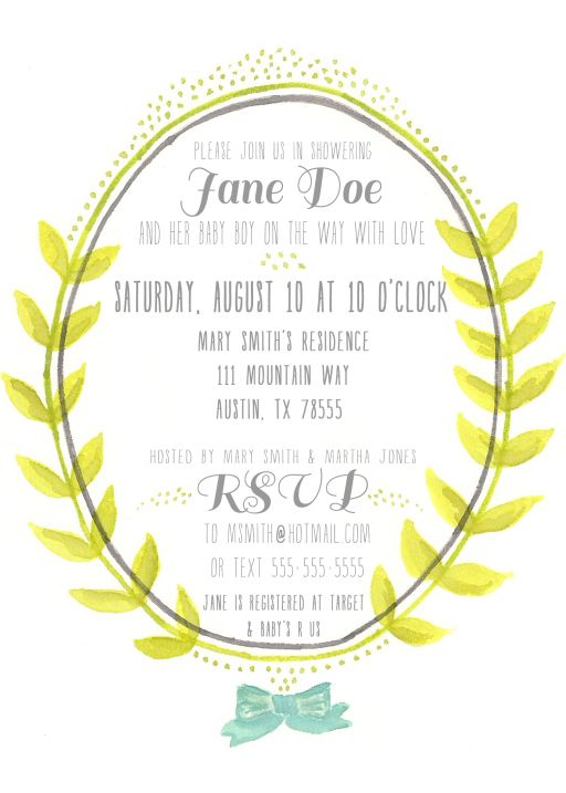 free printable watercolor baby shower invitation pinterest