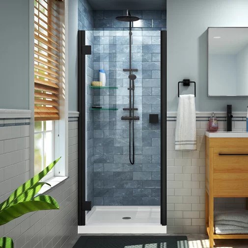 Lumen 40 W X 72 H Hinged Semi Frameless Shower Door Frameless Hinged Shower Door Shower Doors Black Shower Doors