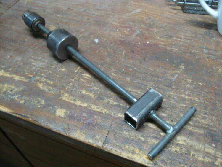 Slide hammer using an old drill chuck. Uses 1/8 inch welding rod ...