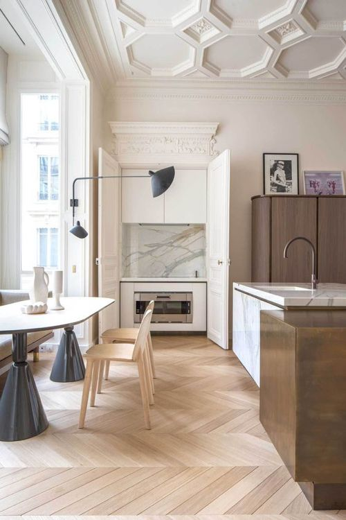 Paris Kitchen With Pale Wood And Marble // #herringbone #flooring #chevron
