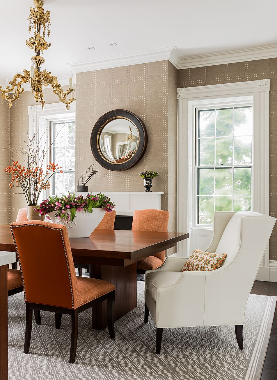Jamaica pond residence elms interior design dining room phillip jeffries wallcovering