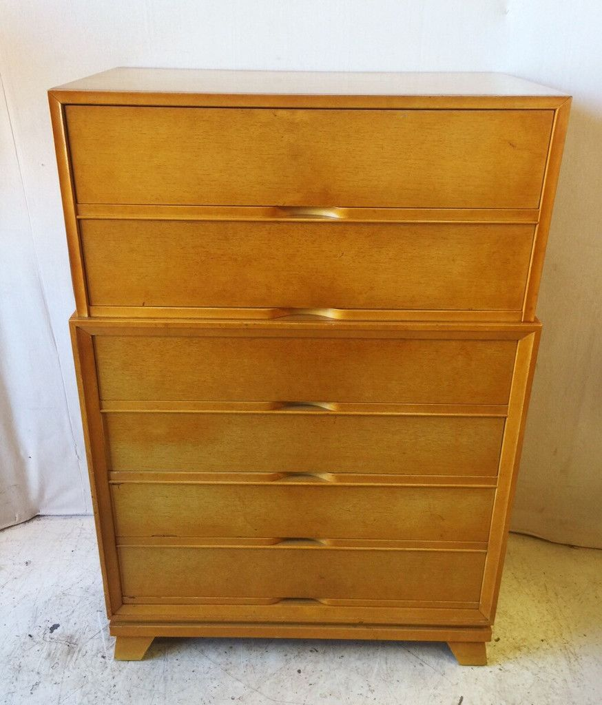 Vintage Rockline Beaver Furniture Co Chest On Chest 6 Drawer Walnut Dresser  With Dovetail Joints $225