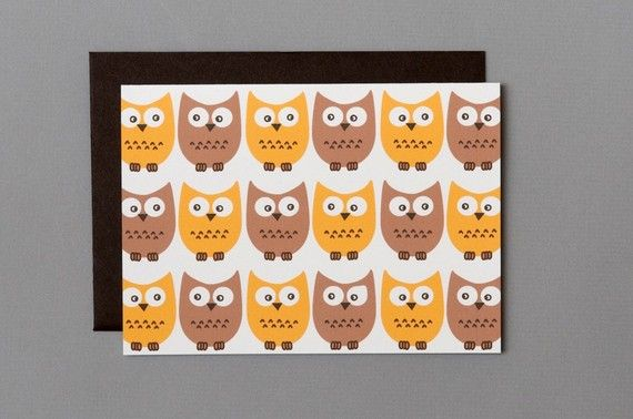 Little Owls 4Bar Folded Card by RatDogInk on Etsy, $3.25