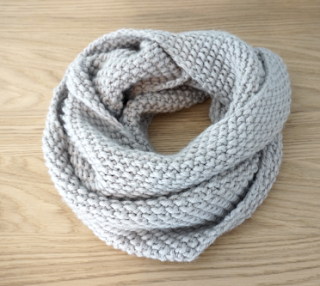 Snood rapido point de riz tricot pinterest point de riz riz et points - Tricoter un snood debutant ...