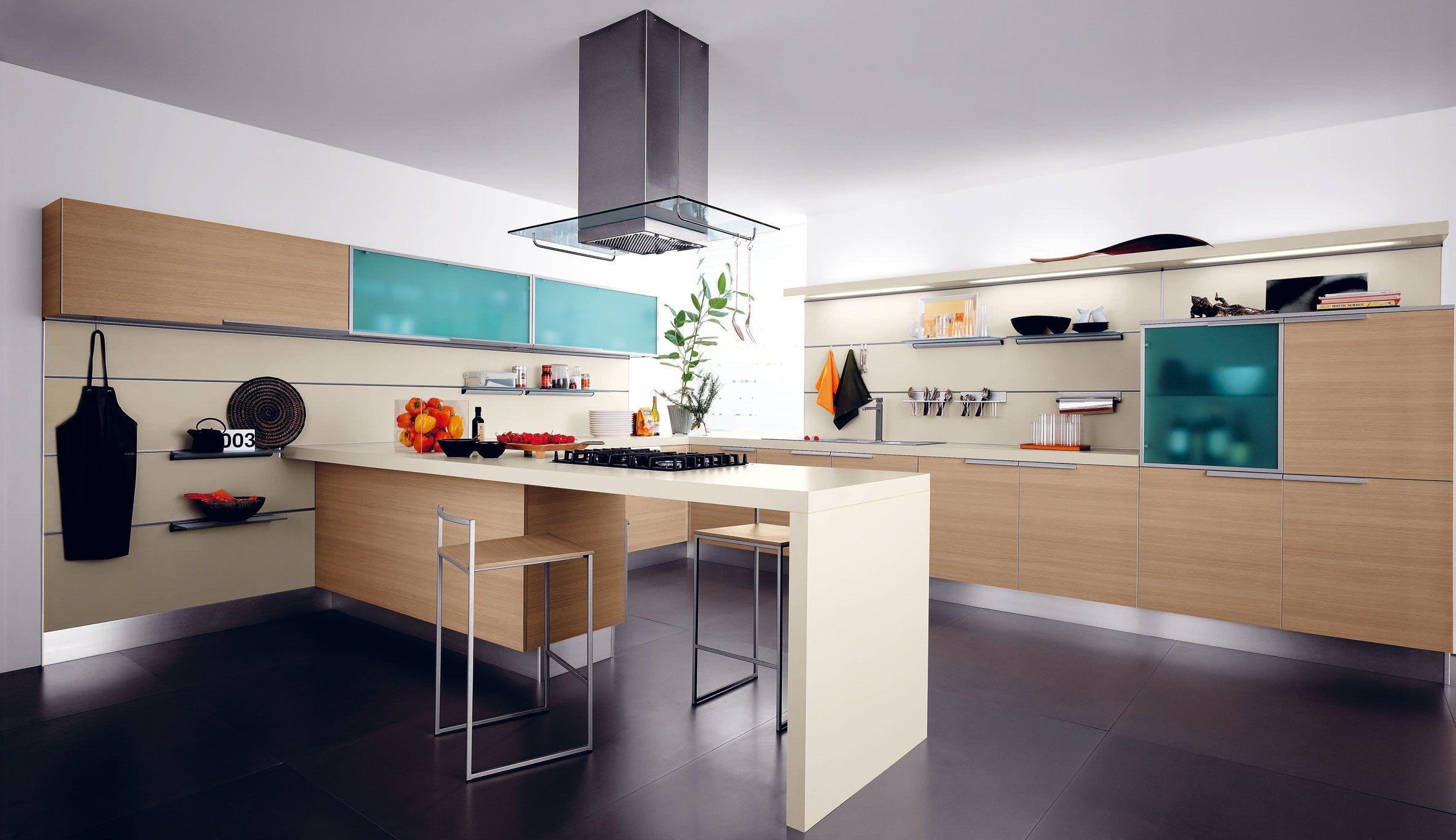 Colores Claros Con Acento Turquesa En Este Caso En Vidrios Kuchen Design Moderne Kuche Kuchen Ideen Modern