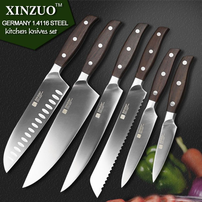 6 Pcs Kitchen Knives Set Japanese Chef Bread Stainless Steel Sharp