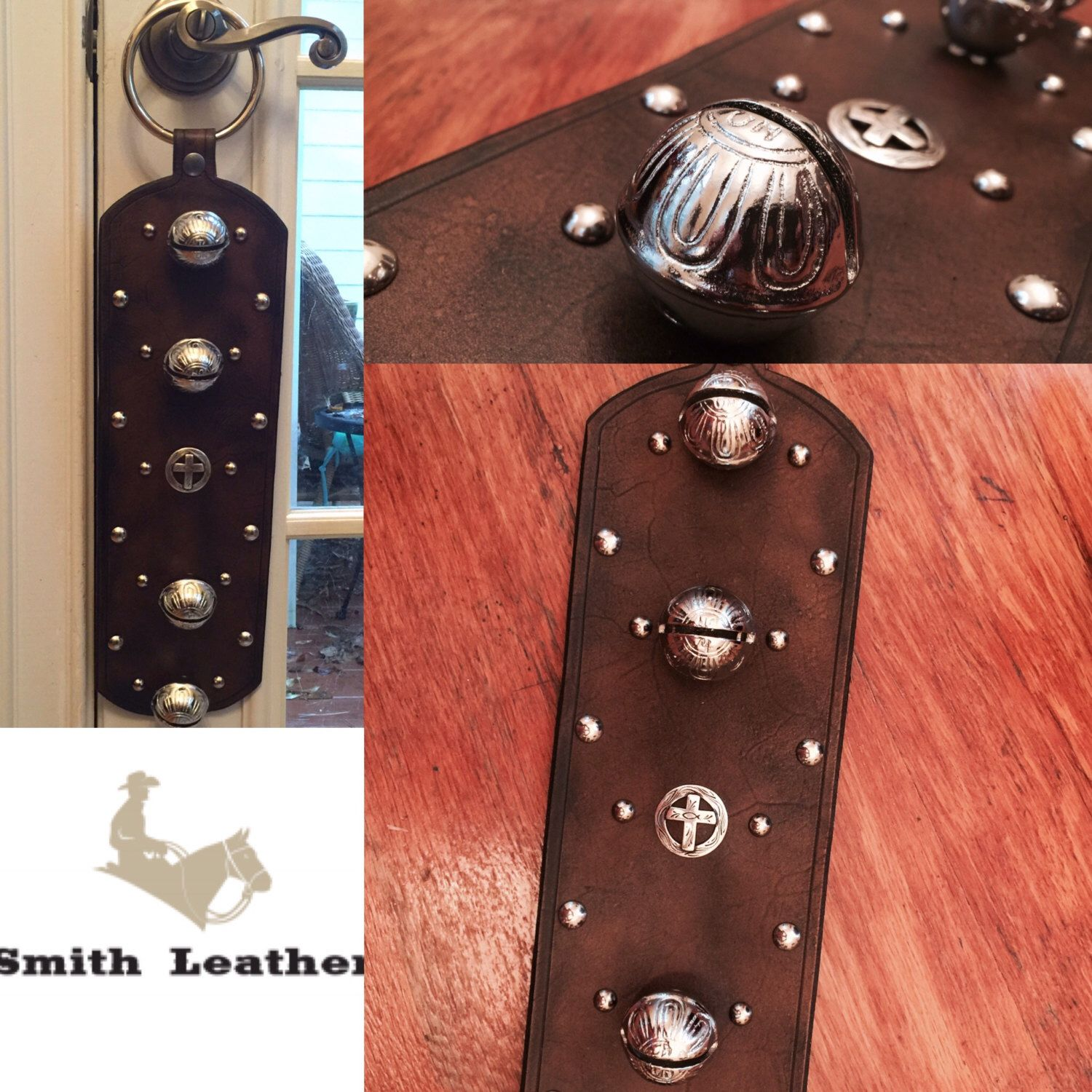 Sleigh Bell Door Hanger by SmithLeatherCo on Etsy https://www.etsy.com/listing/268141818/sleigh-bell-door-hanger
