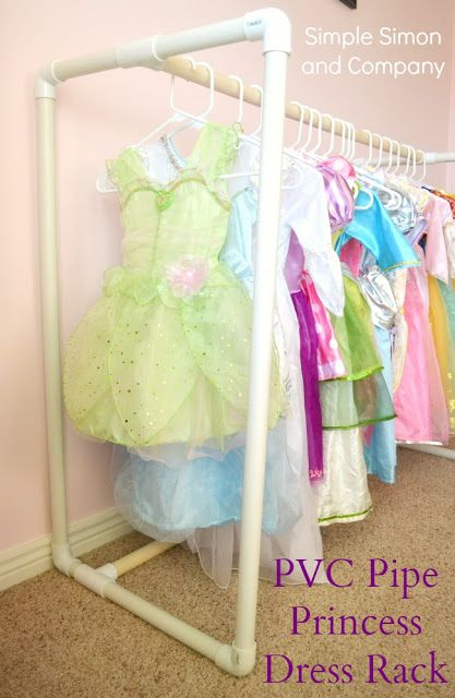 DIY PVC Pipe Princess Dress Rack—A How To Could be used in dramatic play center for dress up clothes