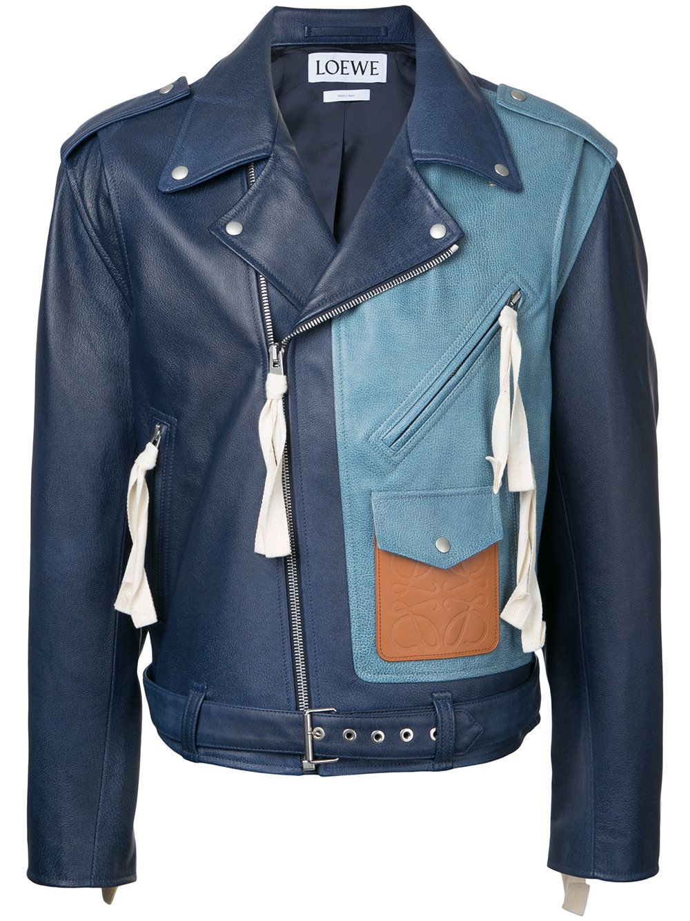 Loewe Colour Block Biker Jacket Leather Jacket Men Mens Jackets Blue Jacket Men