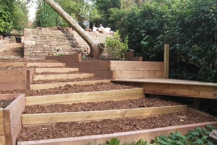 Moderne Garten Mit Terrassen Und Tribunen 50 Designs Homedesign Sloped Backyard Landscaping Landscaping Retaining Walls Sloped Garden