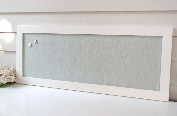 Long Narrow Magnet Board   Kitchen Bulletin Board Magnetic Organizer With  Silver Blue/Seafoam Cotton