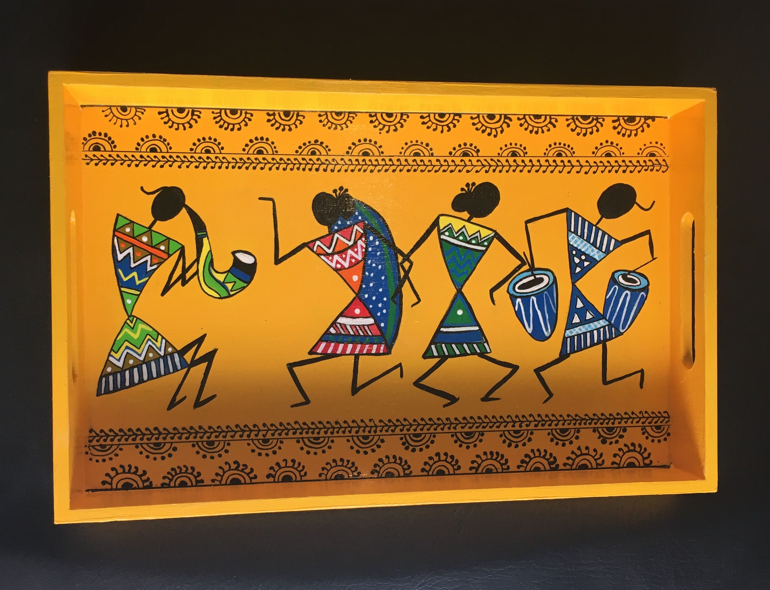 """Hand Painted Warli Art on Wooden Tray Size : 12.5"""" X 7.75"""" X 1.5"""" Description: Rectangular Tray - Flat Handle Eco- friendly pine based MDF tray"""