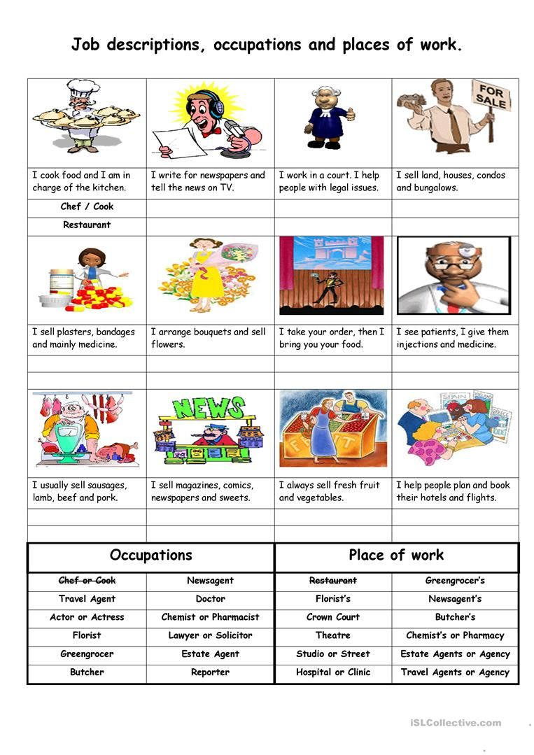 Job descriptions, occupations and places of work worksheet ...