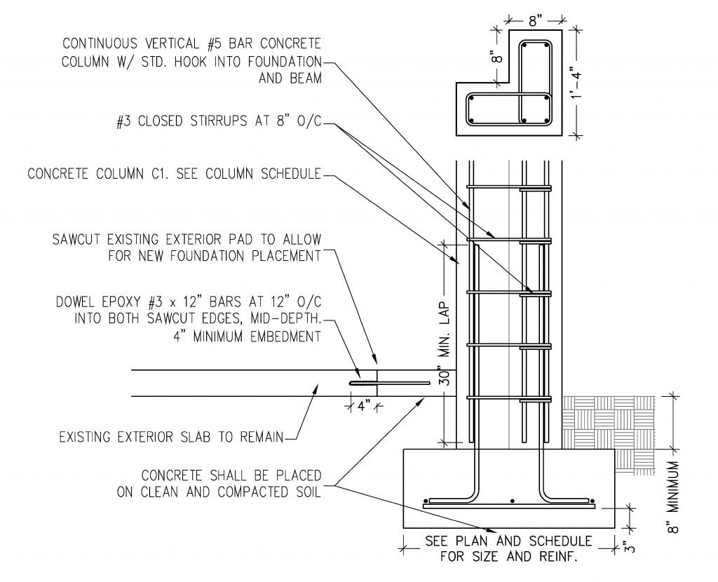 Example Of Isolated Footing Steel Columns Concrete