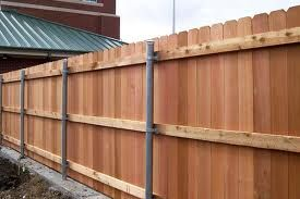 Wood Fence With Metal Post With Images Privacy Fence Designs