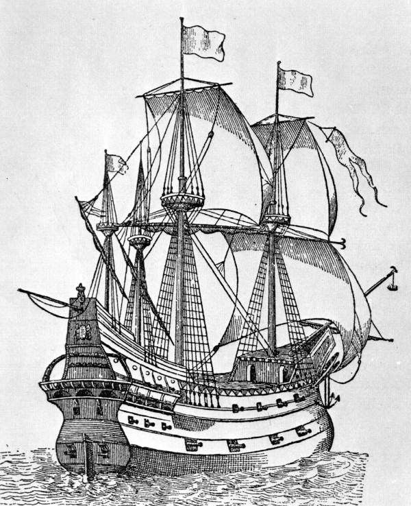 Spanish galleon sailing the seas