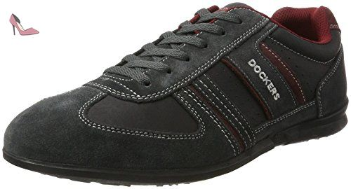 Dockers by Gerli 34sa801-201237, Sneakers Basses Homme, Noir (Asphalt/Rot), 47 EU - Chaussures dockers by gerli (*Partner-Link)