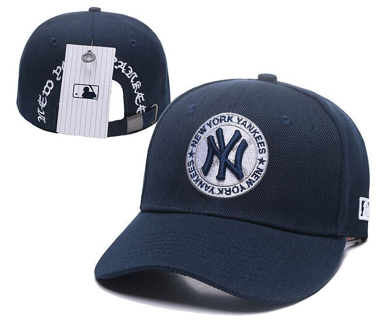 97822115c3c65 Men s   Women s New York Yankees Classic NY Team Logo Circle Patch Curved  Dad Hat - Navy