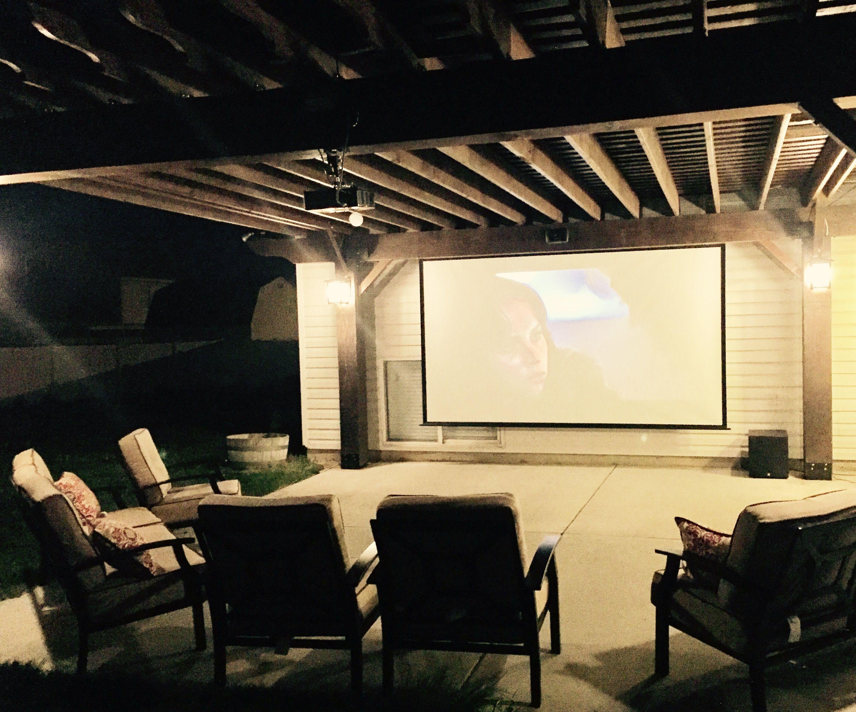 DIY Pergola, Pergola post lighting, optoma projector, 150
