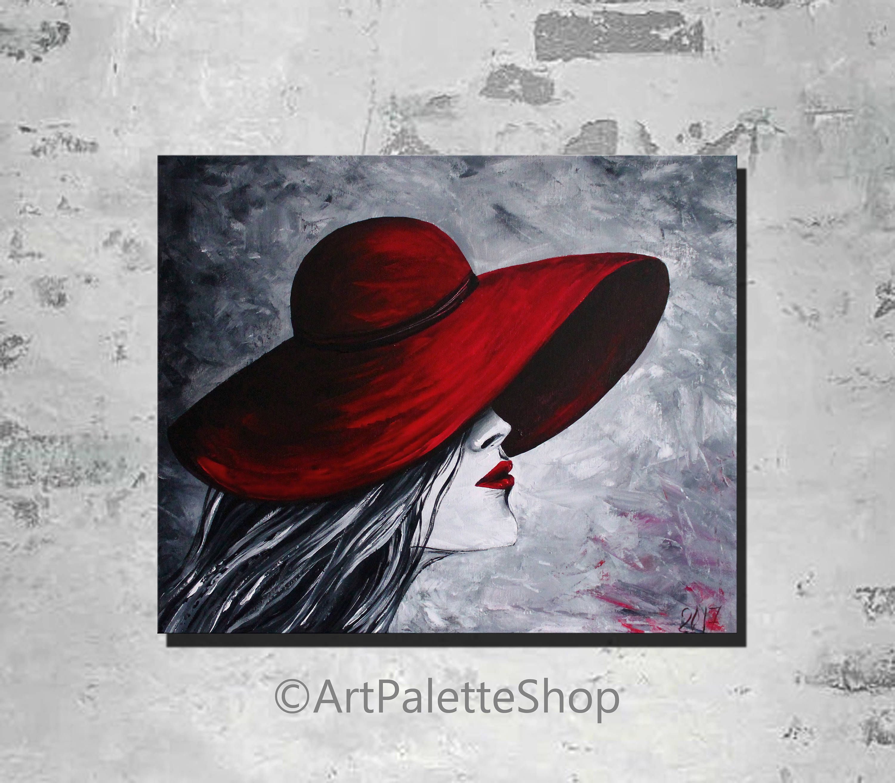 Lady In Red Hat Painting Black And White Painting Romantic Black