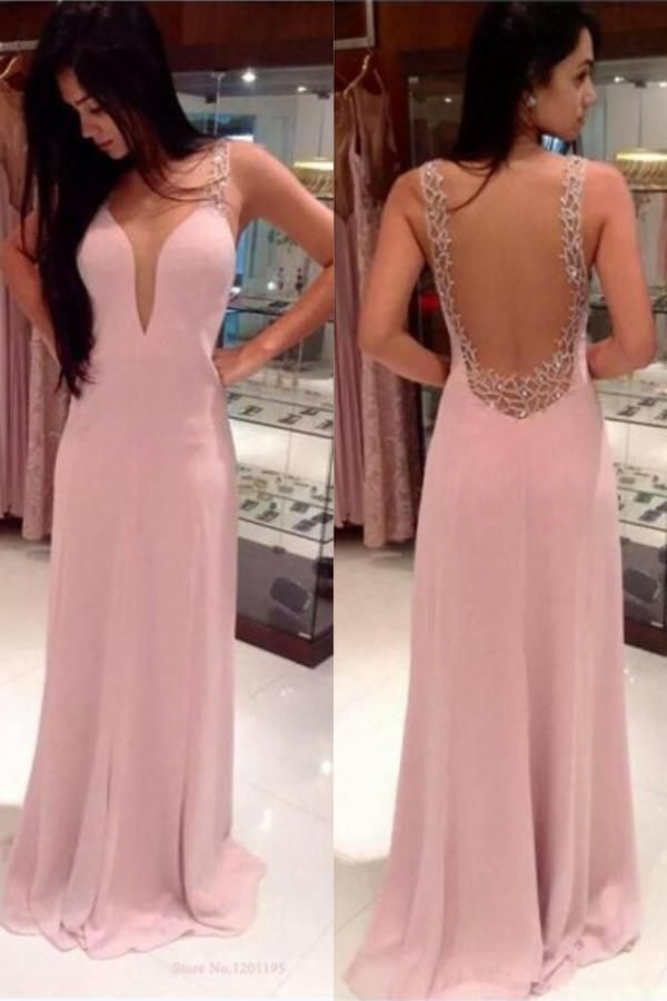 Pink Chiffon A-Line V-neck Sweep Train Prom Dress with Beading ...