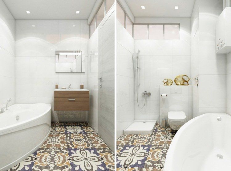 Comment agrandir la petite salle de bains 25 exemples for Carrelage salle de bain motif