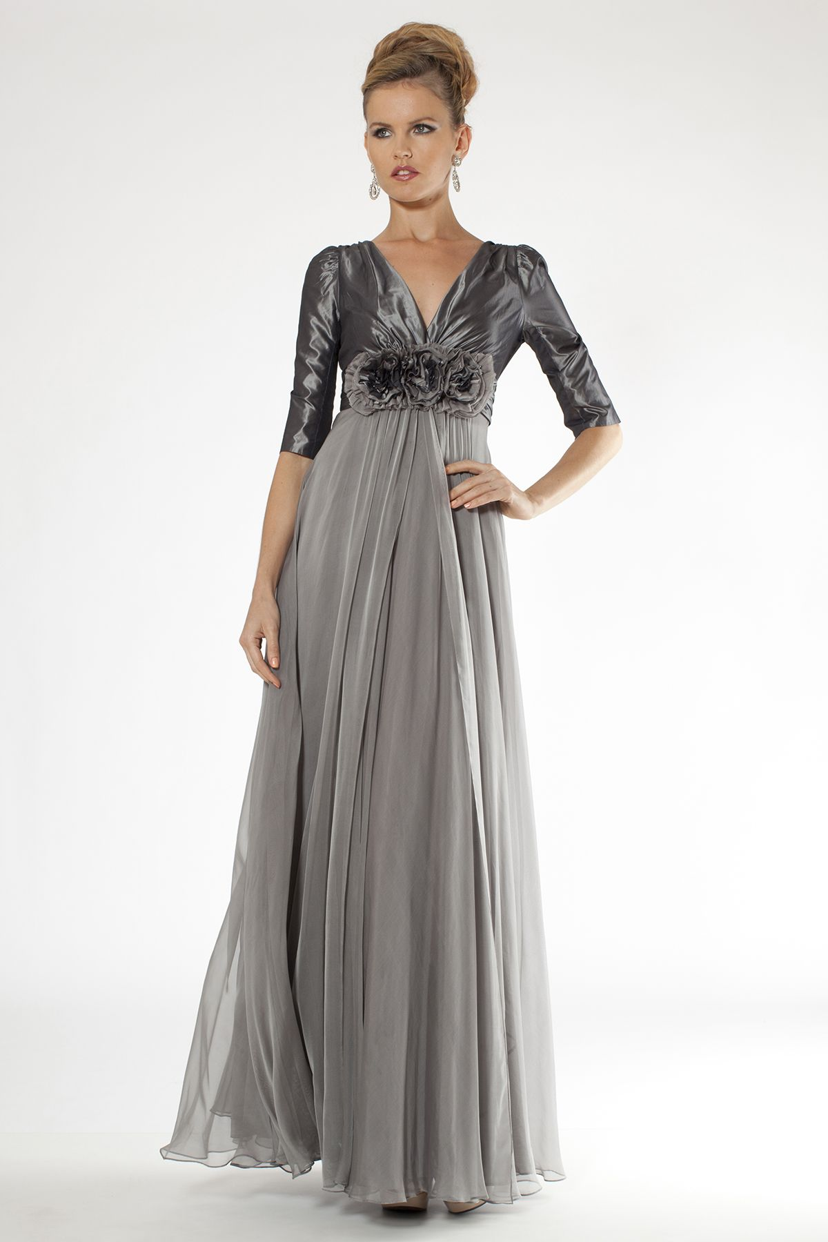 with sleeves chiffon bottom   Evening Dresses for Pregnant Women ...