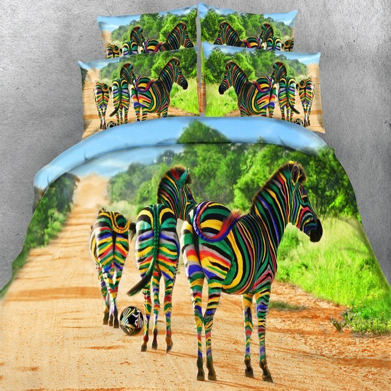 Green Brown And Blue Bright Colorful Zebra Print Jungle Animal