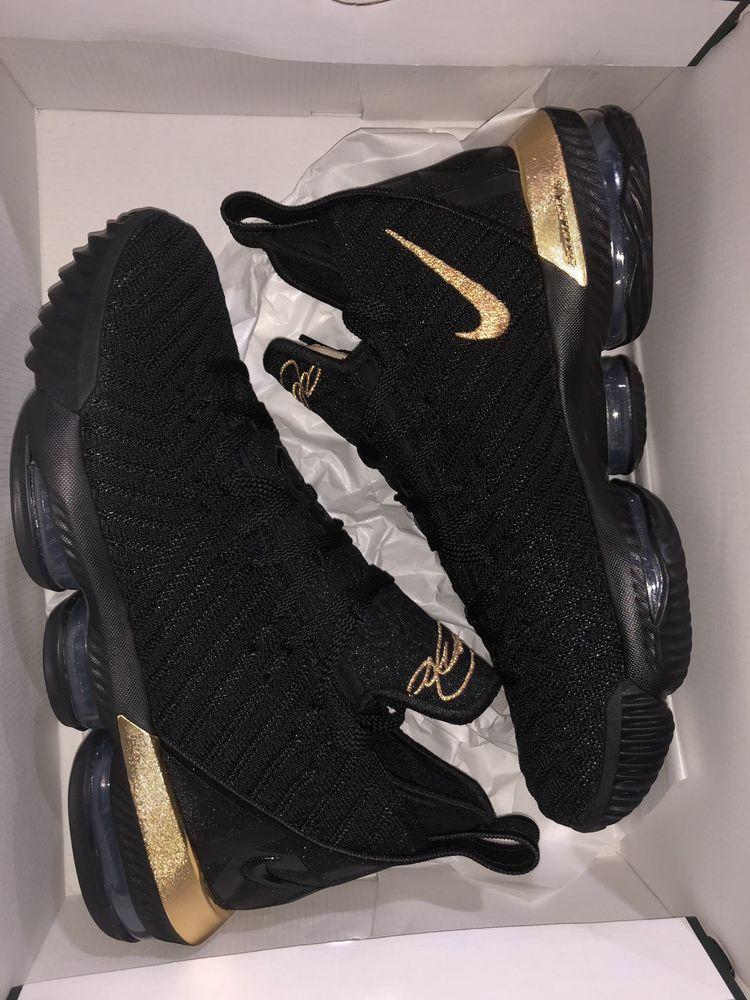 "Nike LeBron XVI /""I/'m King/"" Men/'s New Black Metallic Gold James Shoes BQ5969-007"