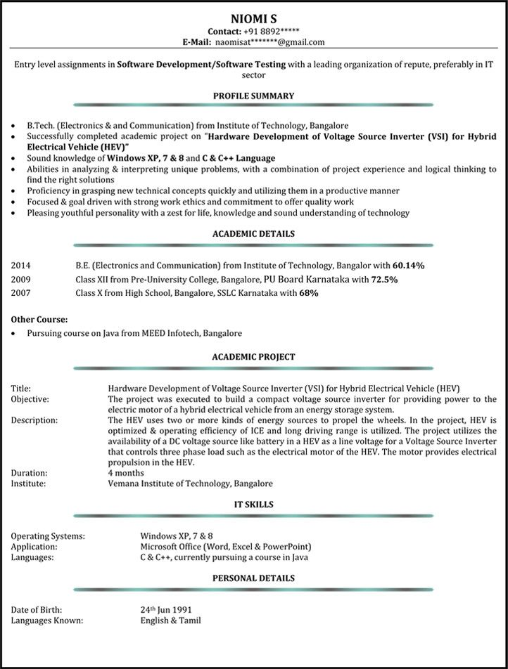 For 8 Years Experience Pinterest Sample resume and Resume format