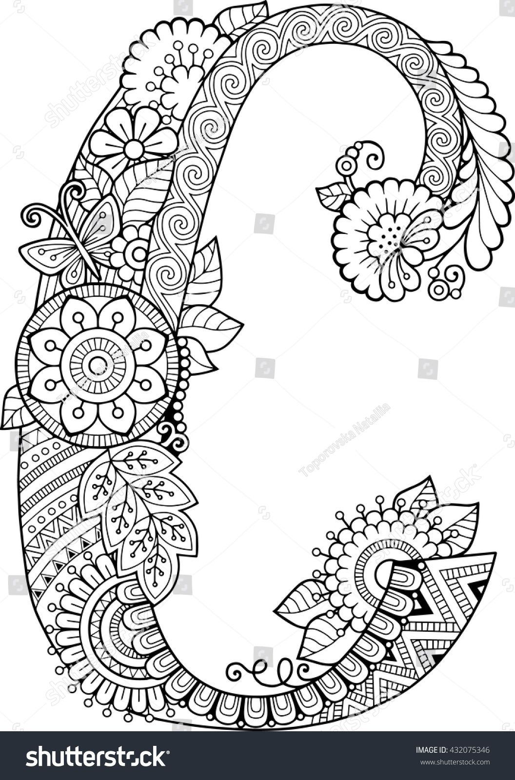 Free Coloring Pages Download Book For Adults Floral Doodle Letter Hand Drawn Flowers Of