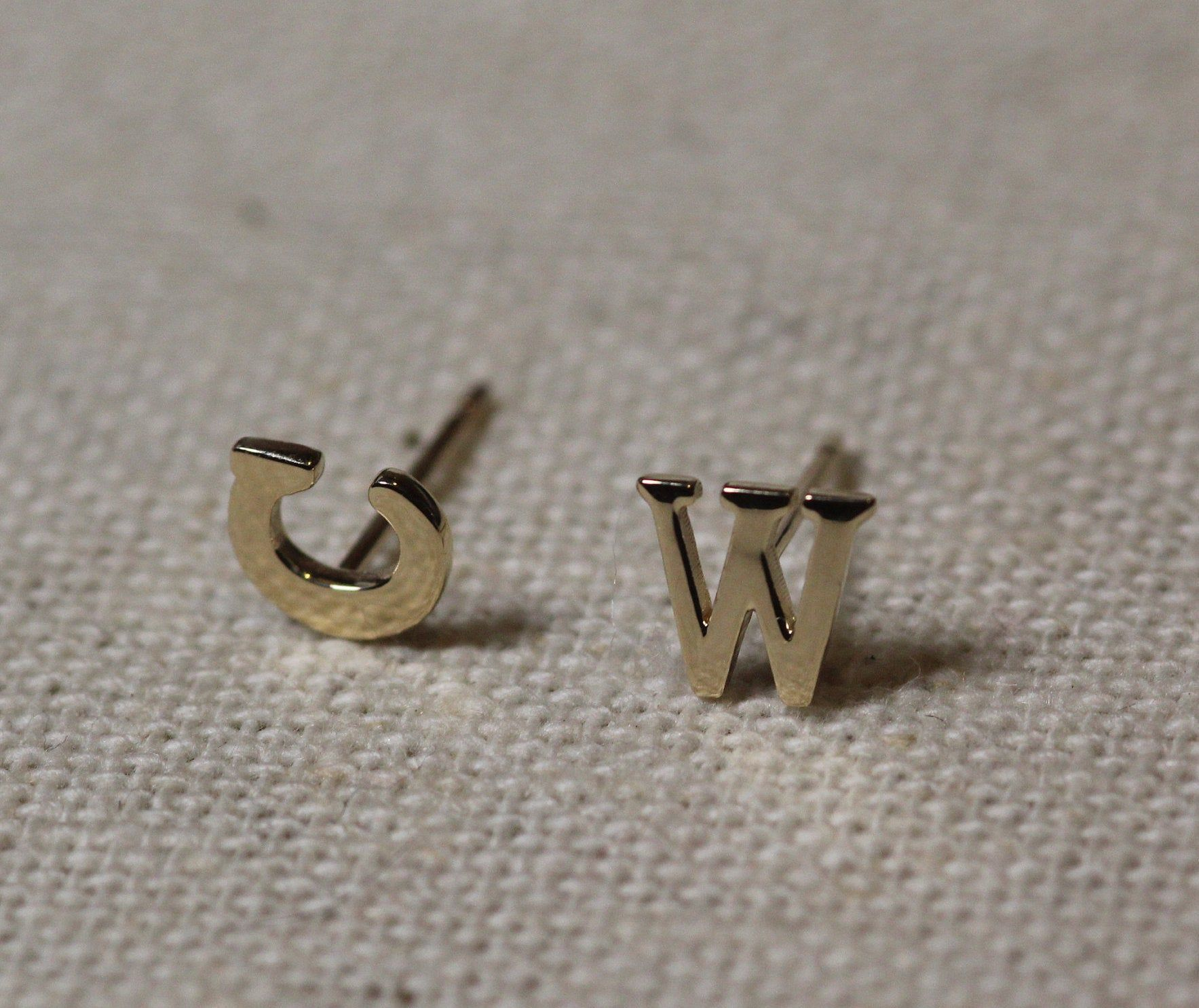 Initial Earrings Gold Tiny Solid 14k Gold Initial Earrings Etsy In 2020 Gold Earrings Threader Earrings Gold Initial Earrings
